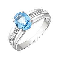 Серебряное кольцо Рашель с кварцем цвета танзанит и фианитами 000067757