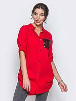 Стильная женская хлопковая длинная рубашка с рукавом 3/4 7029/6, фото 1