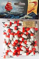 Поплавок Парус для ловли рыбы, зимний, белый с красным, поплавочная оснастка Парус, рыболовный поплавок Парус