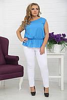 Женская блуза-туника больших размеров (рр 48-94) голубой, разные цвета