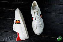 Мужские кроссовки Gucci белые с мухой топ реплика, фото 3