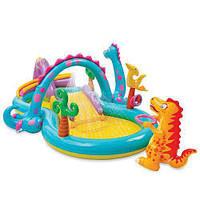 Надувной игровой центр с горкой Планета динозавров Intex 57135 мини аквапарк у Вас дома Размер 333 х 229 х 112