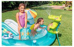 Детский надувной игровой центр (мини аквапарк) Intex 57165 Аллигатор, Размер 201 х 170 х 84 см