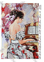 Схема на ткани для вышивки бисером Пианистка ТМ Дана