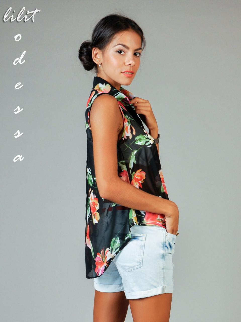 Блуза с удлинённой спинкой черный