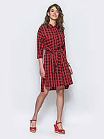 Модное женское хлопковое платье-рубашка с удлиненной спинкой и поясом 7033/1, фото 1