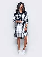 Модное женское хлопковое платье-рубашка с удлиненной спинкой и поясом 7033