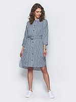 Модное женское хлопковое платье-рубашка с удлиненной спинкой и поясом 7033/2, фото 1