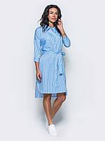 Модное женское хлопковое платье-рубашка с удлиненной спинкой и поясом 7033/4
