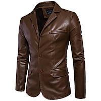 Мужская классический пиджак кожаныйс натуральной кожи.