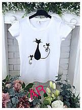 Белая футболка с черной аппликацией в виде котов42-46 р, фото 3