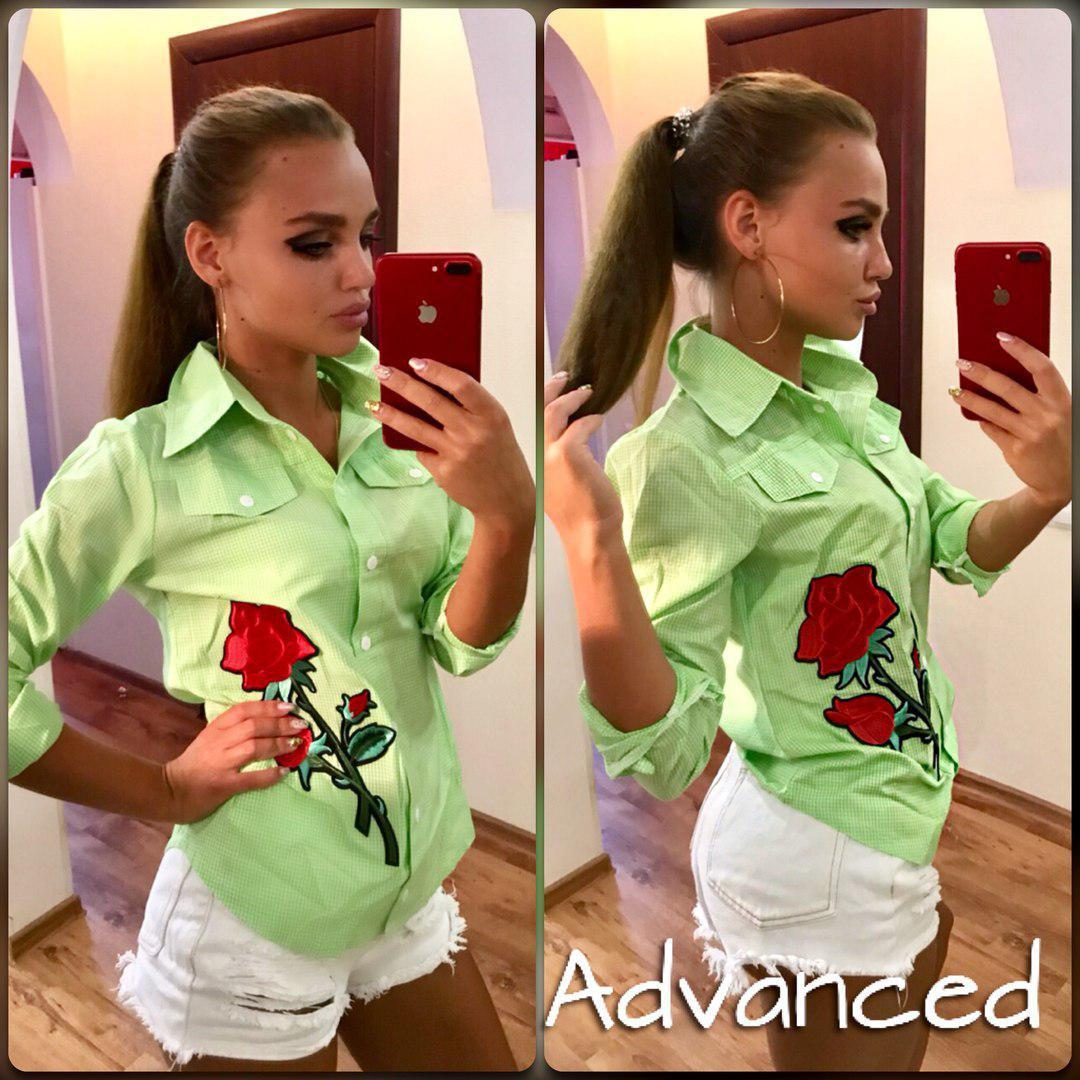 Рубашка с нашивкам и карманами много цветов