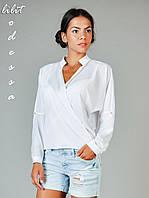 Шифоновая блуза с запахом белый