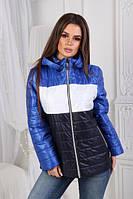 """Женская демисезонная короткая куртка с капюшоном трехцветная """"Nancy"""" электрик"""