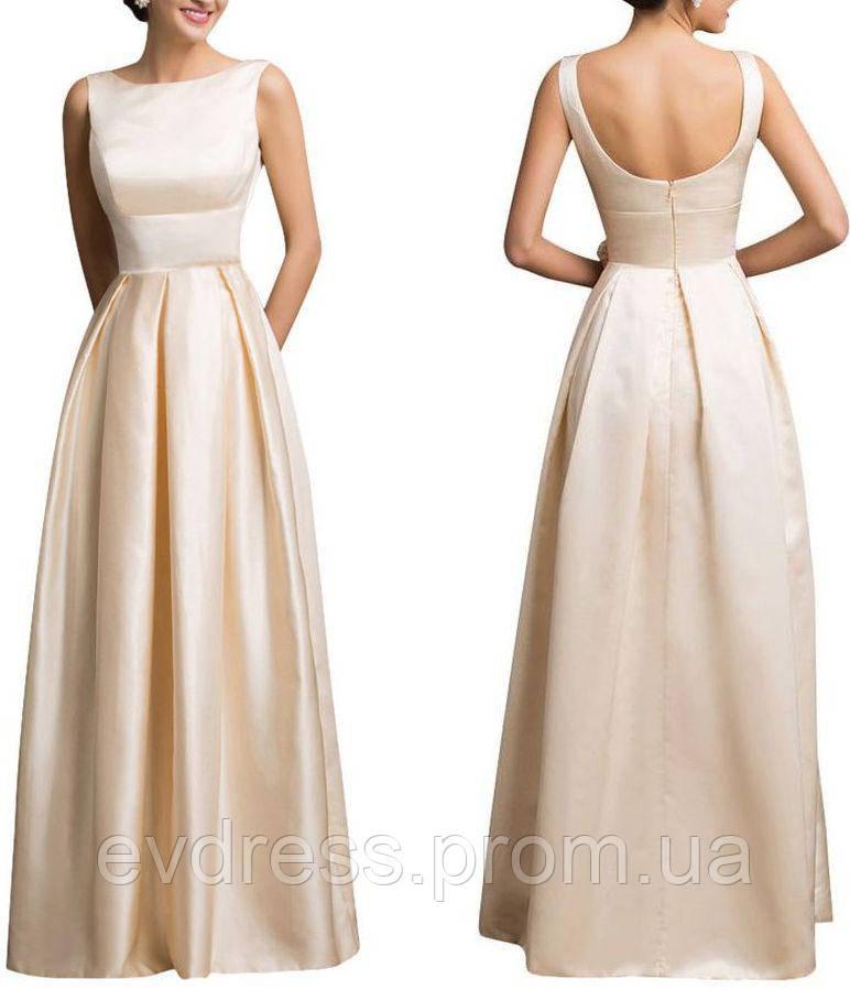ceb0132f712 Элегантное Белое Платье А-силуэт Атлас Свадьба Выпускной CB-592 ...