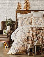 Набор постельное белье с пледом Karaca Home Arlo gri серое евро размера Коллекция 2018