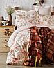 Набор постельное белье с пледом Karaca Home Arlo orange оранжевый евро размера Коллекция 2018