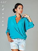 Шифоновая блуза с запахом бирюзовый, фото 1