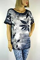 жіноча футболка великого розміру з принтом і стразами 3606