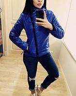 """Модная демисезонная женская короткая куртка без капюшона с молнией наискось """"Ариэла"""" электрик"""