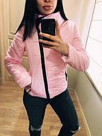 """Модная демисезонная женская короткая куртка без капюшона с молнией наискось """"Ариэла"""" розовая"""