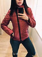 """Модная демисезонная женская короткая куртка без капюшона с молнией наискось """"Ариэла"""" бордовая"""