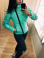 """Модная демисезонная женская короткая куртка без капюшона с молнией наискось """"Ариэла"""" мятная"""