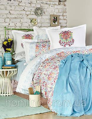 Набор постельное белье с пледом Karaca Home сатин Diandra turkuaz бирюзовый евро размера Коллекция 2018