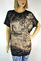 жіноча футболка великого розміру з принтом і стразами 3671