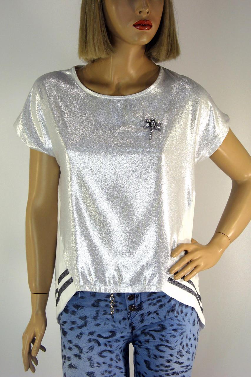 жіноча футболка з люрексом і срібним напиленням - магазин ШАЛЕНА МОДА у  Львові Наукова 64 в 20a6529c74261