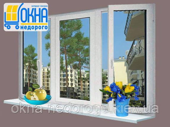 Трехстворчатое окно OpenTeck Elit с двумя открываниями , фото 2
