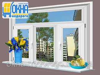 Заказ металлопластикового окна OpenTeck Elit 70 с тремя створками с фрамугой на два открывания