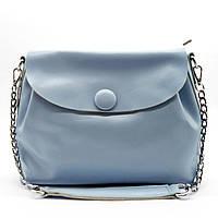 Прекрасная женская сумочка из натуральной кожи с пуговицей голубого цвета GIF-060957, фото 1
