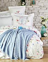 Набор постельное белье с пледом Karaca Home сатин Trina mavi голубой евро размера Коллекция 2018