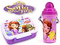 """Набор """"Princess Sophia (Принцесса София)"""".  Ланч бокс (ланчбокс) + бутылка с трубочкой, цвет сиреневый"""