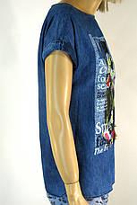 Футболка джинсова жіноча з принтом і вишивкою, фото 2