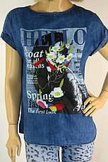Футболка джинсова жіноча з принтом і вишивкою, фото 3