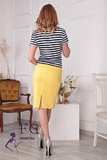 Модный летний женский костюм: юбка-карандаш и футболка в полоску, желтый, фото 2