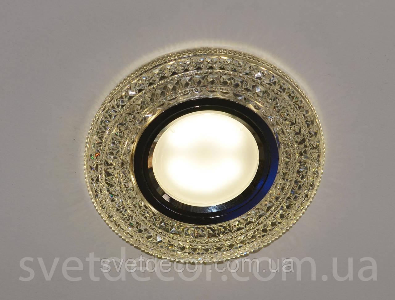 Точечный встраиваемый светильник Feron CD877 c LED подсветкой прозрачный