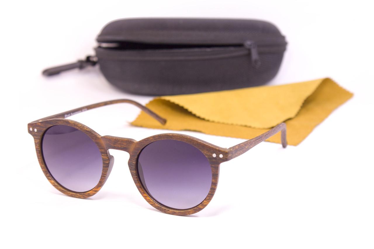 Круглые очки дерево (F9015-3)