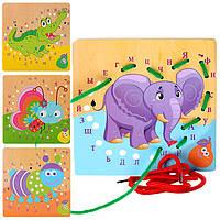 Деревянная игрушка Шнуровка Буквы Алфавит, Дерев'яна Шнурівка E12534, 003997