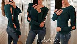 """Красивая женская кофта с разрезами и пуговицами на рукавах """"Колибри"""" зеленая, фото 2"""