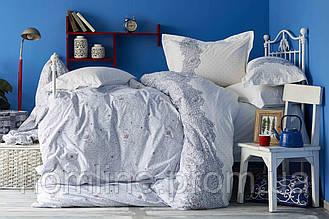 Постельное белье Пике Karaca Home ранфорс Simi mavi голубое евро размер (летнее постельное) Коллекция 2018