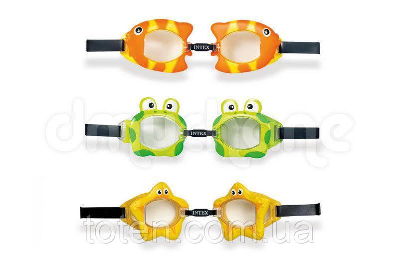 Очки для плавания Intex 55603 детские, 3-8 лет, УФ-защита, регулируемый ремешок, 3 вида