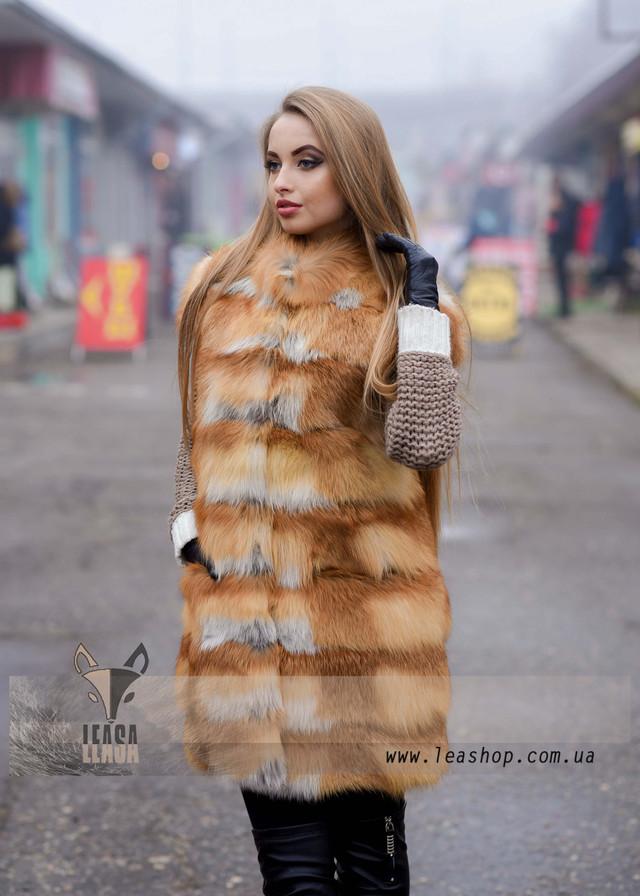 Женская меховая жилетка из лисы ФОТО