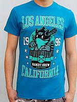 XL/50 Футболка мужская с прикольным принтом  Los Angeles  бирюзовый