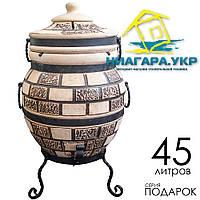 Тандыр Теплота 1 Подарок с механическим держателем крышки, дизайн Кирпич
