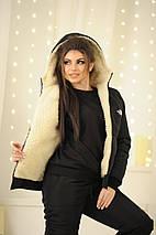 """Теплый женский дутый костюм на овчине """"The North Face"""" с капюшоном, фото 2"""