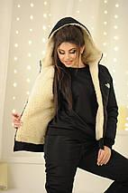 """Теплый женский дутый костюм на овчине """"The North Face"""" с капюшоном, фото 3"""