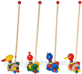 Деревянная игрушка Каталка уточка на палочке каталочка , MD 0025, 002903